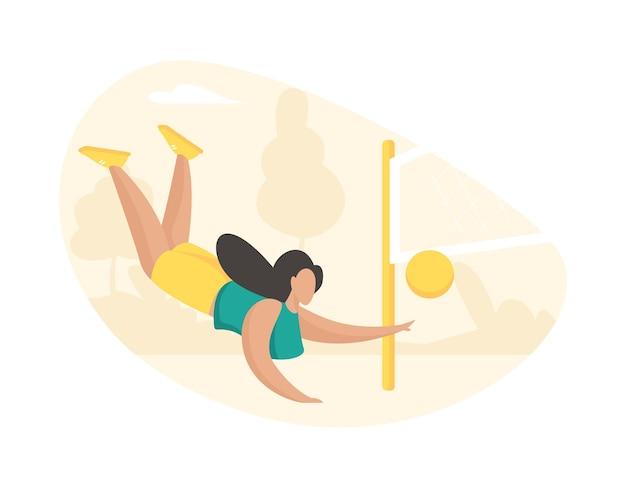 Девушка активно играет в волейбол. красивая спортивная женщина осенью бьет мяч через сетку. активная игра на летнем открытом пляже