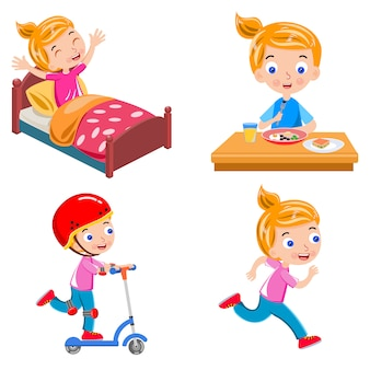 Girl activity wake up breakfast skating running vector