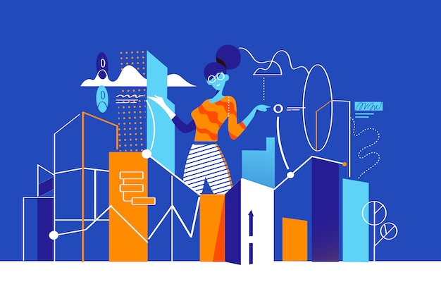 A girl analizes data in the city where the buildings represent graphs