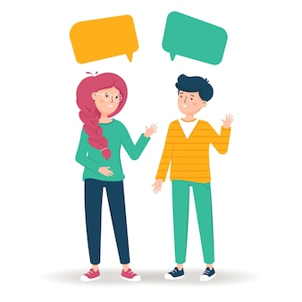Девушка и парень разговаривают друг с другом. друзья пообщаться.