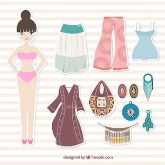 소녀와 boho 옷 레이블
