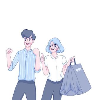 Девочка и мальчик покупают иллюстрации шаржа персонажей.
