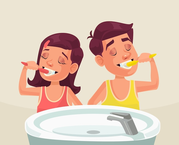 Девушка и мальчик чистят зубы щеткой.