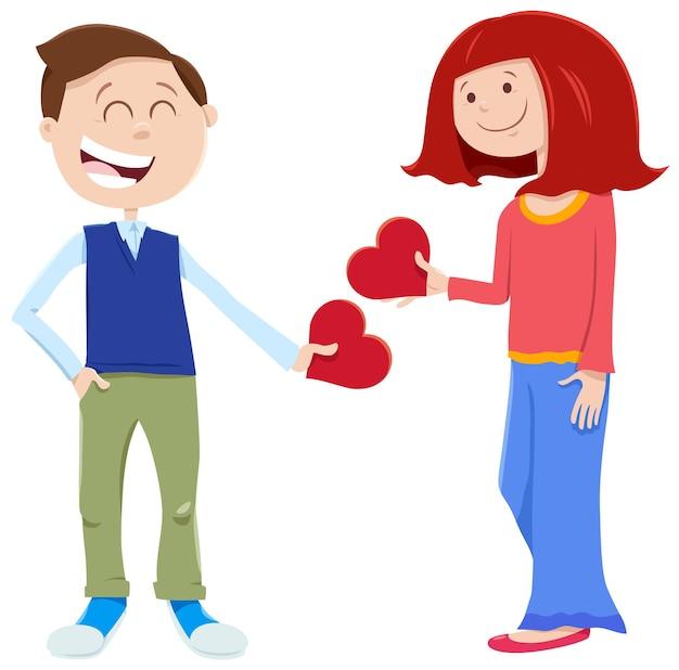 Влюбленные персонажи мальчика и девочки