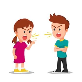 소녀와 소년은 화난 얼굴로 싸우거나 논쟁합니다.