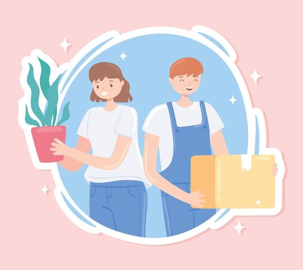 상자와 식물을 들고 소녀와 소년