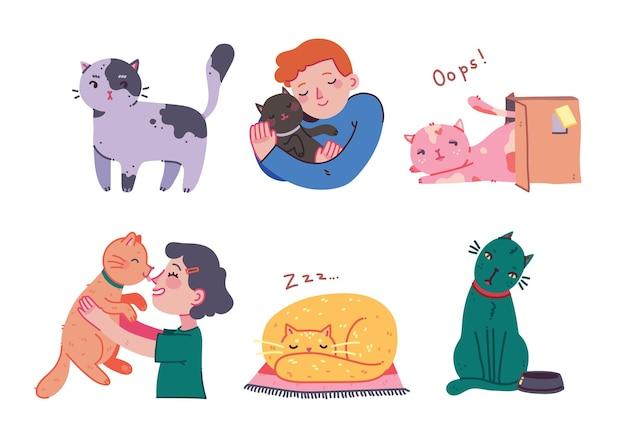 猫を抱き締める少女と少年、ペットと若い人はフラットな漫画のスタイルで肖像画を受け入れます。かわいい猫のキャラクターの手描きのベクトルイラスト。 doodleスタイルをカラーでスケッチします。