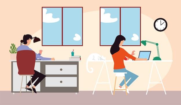 집에서 일하거나 노트북 그림에서 공부하는 소녀와 소년