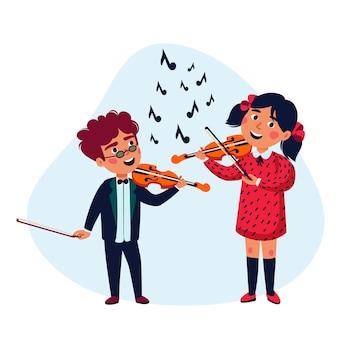 Девочка и мальчик музыканты