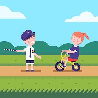 ゲームキャラクターを演じる少女と少年