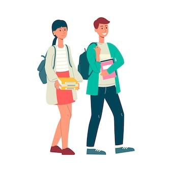 女の子と男の子の学生の漫画のキャラクター、白い表面で隔離の平らなベクトル図