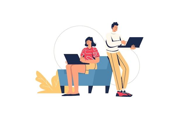 ネットサーフィンの女の子と男の子のインターネットの概念。ソーシャルネットワークでニュースフィードを閲覧し、リラックスし、ラップトップを使用してオンラインでチャットしている10代の若者、最小限の人々のシーン。ウェブサイトのフラットなデザインのベクトル図