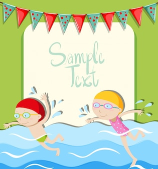 Girl and boy swimming