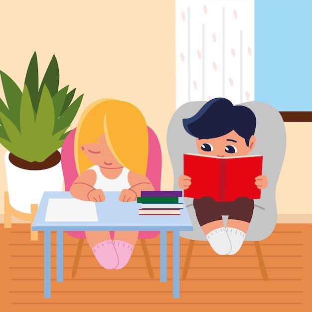 Девочка и мальчик с книгами на стуле учатся дома