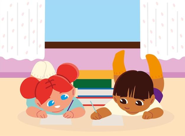 Девочка и мальчик с книгами на полу учатся дома