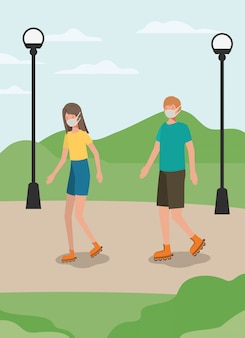 공원 디자인에서 마스크와 롤러 스케이트와 소녀와 소년