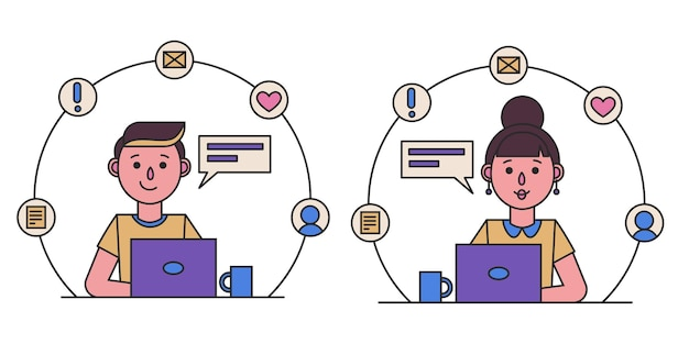 ラップトップコンピューターで作業している女の子と男の子。女性と男性の秘書、教師またはサラリーマン。