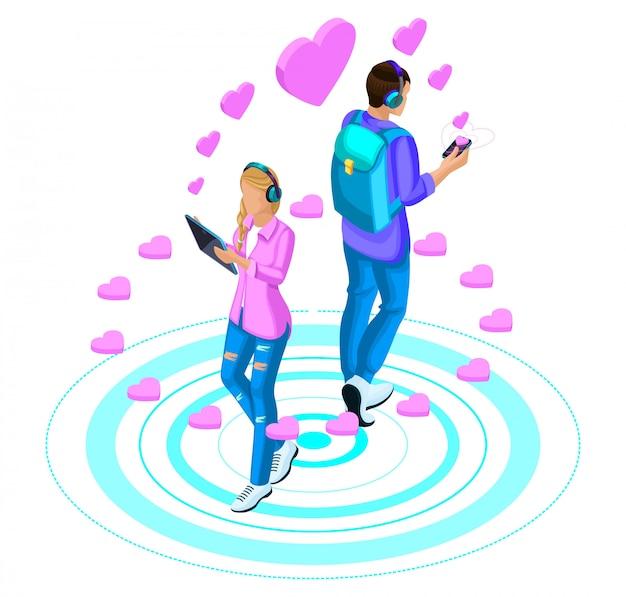 女の子とボーイフレンドは、現代のガジェットを通じてソーシャルネットワークに恋をしています。明るいコンセプトが大好き Premiumベクター