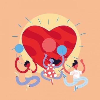 Мультяшные девочки и мальчики с воздушными шарами и дизайном вектора сердца