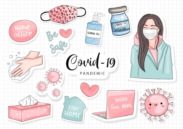 Девушка и ковид - концепция 19, стикер стиля жизни девушки