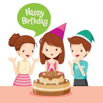 생일 파티에 케이크와 함께 소녀와 친구