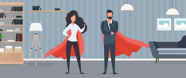 Девушка и парень в красном плаще. женщина и мужчина-супергерой. концепция успешного человека, бизнеса или семьи. вектор.