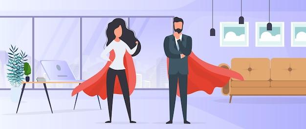 赤いレインコートを着た女の子と男。女性と男性のスーパーヒーロー。成功した人、ビジネスまたは家族の概念。ベクター。