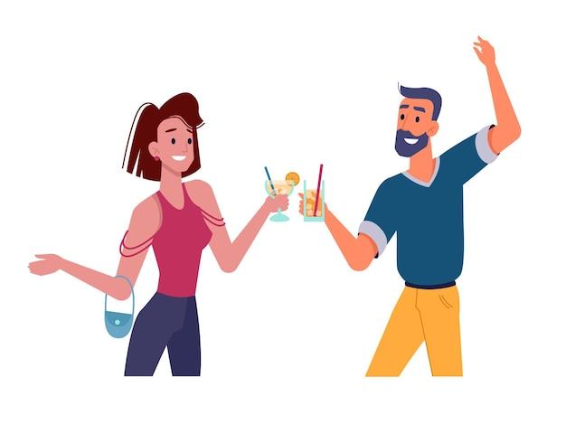 Девушка и парень с коктейлями танцуют на вечеринке и пьют вектор плоские изолированные счастливая девушка и мужчина