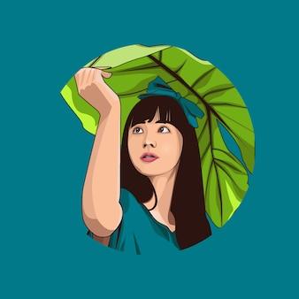 少女と葉の漫画プレミアムベクトル