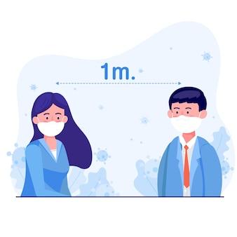 Девушка и мужчина в защитной медицинской маске стоят на расстоянии 1 метра для защиты коронавируса. мировая концепция вспышек и пандемических вирусов корона-19 и covid-19.