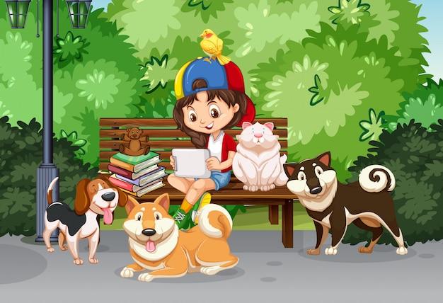 Девочка и домашнее животное в парке