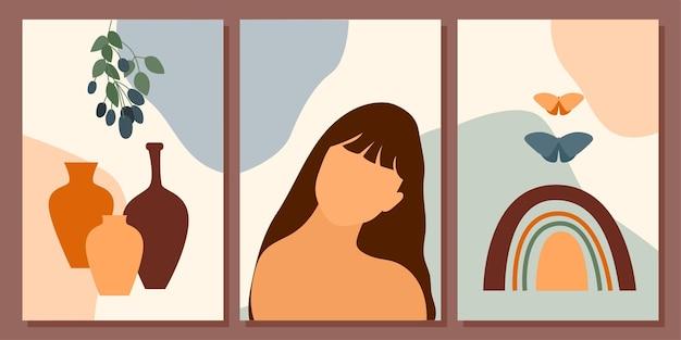 소녀와 식물 포스터 컬렉션 미니멀리스트 추상 boho 여자 초상화 세트