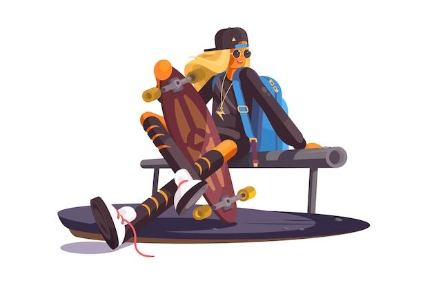 Девушка и скейтборд векторные иллюстрации. модный подросток сидит на скамейке с дизайном мультфильма коньков. веселье на открытом воздухе. хобби и концепция активного свободного времени.