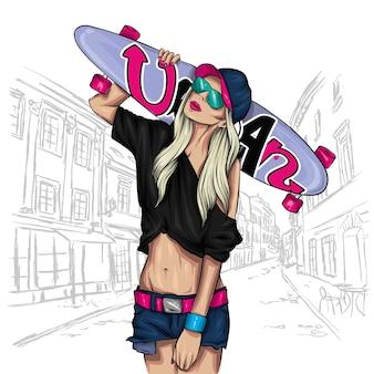 Девушка и скейтборд