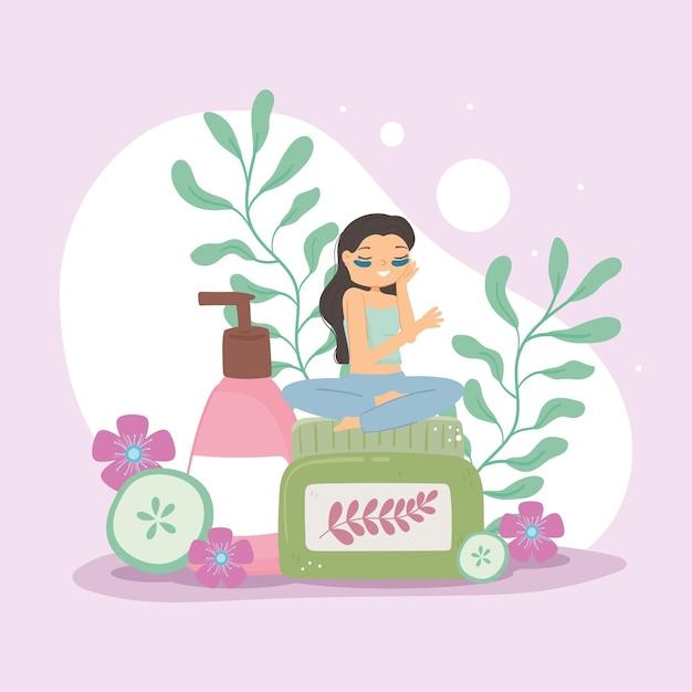 Девушка и средства по уходу за кожей