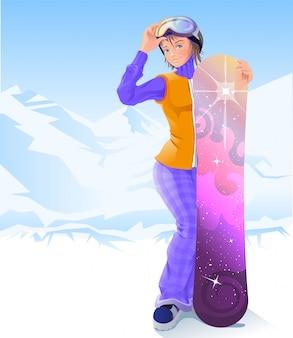 Девушка и сноуборд, зимний спорт