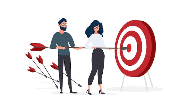 女の子と男は矢を持っています。矢がターゲットに当たる。チームワークの概念。白い背景で隔離。ベクター。