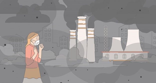 Девушка и гуляя около фабрики пускает по трубам иллюстрацию плана шаржа. загрязнение воздуха, городской смог, концепция тонкой пыли.