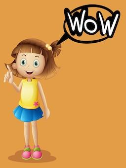 オレンジ色の背景に女の子と単語の表現