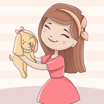 Girl anddog