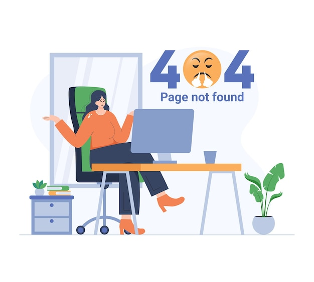 Girl angry by error page flat illustration