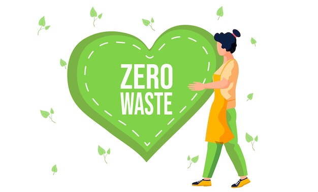 Girl in an apron holds in her hands a large green heart