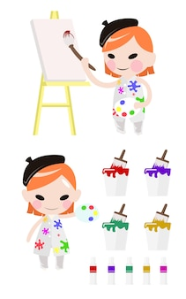 Girl artist painting on canvas with art supplies isolated.