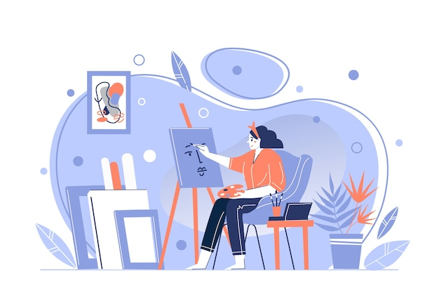 A girl artist paints a picture at home, behind an easel, holding a brush and palette. home studio for the creative profession. spend time. vector illustration.