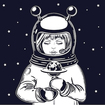 The girl astronaut holds a lollipop