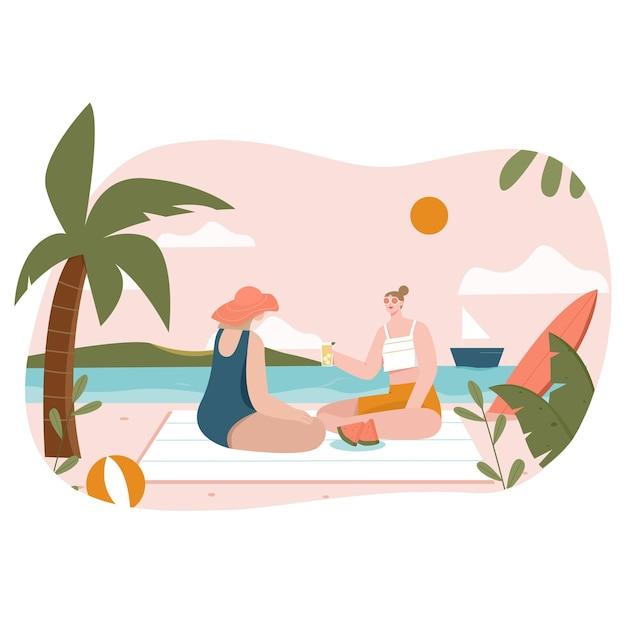 Девушка на пляже плоской иллюстрации
