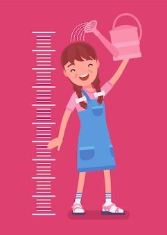 물을 수 있는 아이 키 성장 차트의 소녀