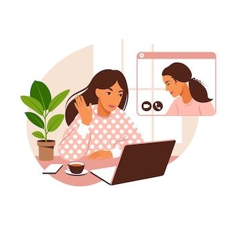 自宅やオフィスのデスクでノートパソコンを持っている女の子。ビデオオンライン、緊急会議、リモートワーク、フリーランスを介したチームとのコミュニケーション。フラットなイラスト。