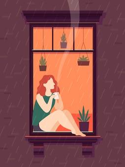 Девушка у окна с кофе. windows человек любит пить чашку кофе чай в одиночестве,