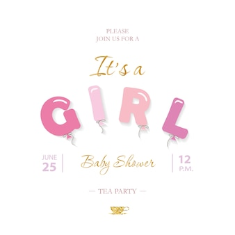 Girl baby shower cute template.